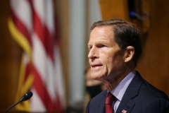 Sen. Richard Blumenthal (D-CT) asks questions during a hearing of the Senate Judiciary Subcommittee on Privacy, Technology, and the Law, at the U.S. Capitol. (Photo credit: TASOS KATOPODIS/POOL/AFP via Getty Images)