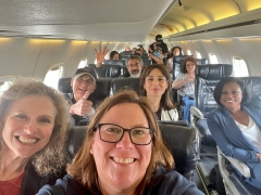Texas Democrats fly to the Capitol unmasked on a plane. (Photo credit: Twitter/JulieJohnsonTX)