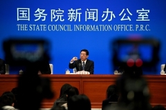 Zeng Yixin, China's vice minister of the National Health Commission, addresses a previous briefing at the State Council Information Office in Beijing. (Photo by Noel Celis/AFP via Getty Images)