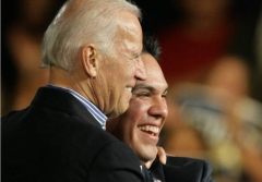 Then-Vice President Joe Biden with congressional candidate Pete Aquilar, Nov. 1, 2014. (Photo by Terry Pierson/MediaNews Group/The Press-Enterprise via Getty Images)