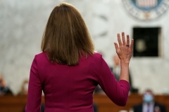 Supreme Court Justice Amy Coney Barrett is among three justices who turned their backs on a Christian flower shop owner. (Photo by GREG NASH/POOL/AFP via Getty Images)