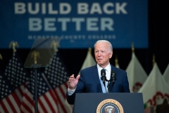"""President Joe Biden speaks about his """"human"""" infrastructure """"Build Back Better"""" plan in Crystal Lake, Illinois, on July 7, 2021. (Photo by SAUL LOEB/AFP via Getty Images)"""