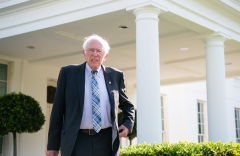 Senator Bernie Sanders (I-Vt.), the Budget Committee Chair, leaves the West Wing of the White House on July 12, 2021, after attending a meeting with President Biden. (Photo by SAUL LOEB/AFP via Getty Images)