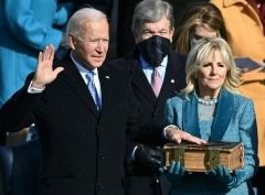Joe Biden takes the oath of office on January 20, 2021, at the US Capitol. (Photo by BRENDAN SMIALOWSKI/AFP via Getty Images)
