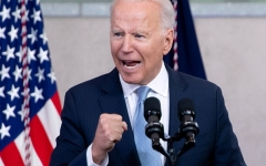 President Joe Biden gestures as he speaks about voting rights at the National Constitution Center in Philadelphia, Pennsylvania, July 13, 2021. (Photo by SAUL LOEB/AFP via Getty Images)