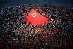Dancers celebrate the centenary of the CCP, in Beijing's national stadium this week. (Photo by Noel Celis/AFP via Getty Images)