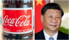 Coca-Cola bottle and China's genocidal leader Xi Jinping.  (Getty Images)