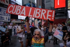 Demonstrators in New York rally held in solidarity with anti-government protests in Cuba on July 13, 2021. (Photo by ED JONES/AFP via Getty Images)