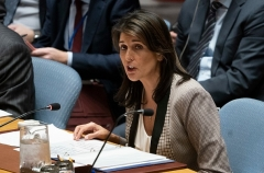 Then-U.S. Ambassador to the UN Nikki Haley addresses the U.N. Security Council in November 2018. (Photo by DON EMMERT/AFP via Getty Images)