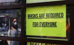 A storefront sign as seen on July 19, 2021 in Los Angeles, California. (Photo by FREDERIC J. BROWN/AFP via Getty Images)