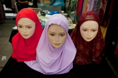 Muslim headscarves displayed for sale. (Photo by In Pictures Ltd./Corbis via Getty Images)