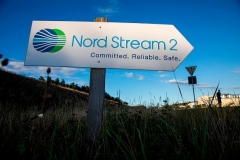 A sign near the Nord Stream 2 pipeline landfall facility in northern Germany. (Photo by Odd Andersen/AFP via Getty Images)