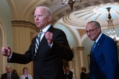 President Joe Biden met with Senate Majority Leader Chuck Schumer and the rest of the Democrat caucus to discuss his infrastructure plans on July 14. (Photo by ANDREW CABALLERO-REYNOLDS/AFP via Getty Images)