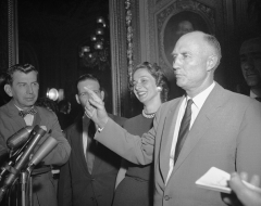 The late Senator Strom Thurmond (D-S.C.) is mobbed by reporters as he steps from the Senate Chamber after ending his 24-hour, 18-minute filibuster against the Civil Rights Bill. Thurmond's talkathon broke the record set in 1953 by Senator Wayne Morse (D-Oreg.). (Photo from Bettmann Collection via Getty Images)