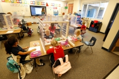 Kindergarteners learn in a classroom during the COVID-19 pandemic. (Photo credit: GEORGE FREY/AFP via Getty Images)