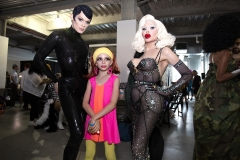 Androgynous model Kyle Farmery, drag queen child Desmond is Amazing, and transgender model Amanda Lepore attend Wigstock 2018