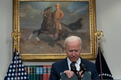 President Joe Biden speaks during an update on the situation in Afghanistan and the effects of Tropical Storm Henri in the Roosevelt Room of the White House in Washington, DC on August 22, 2021. (Photo by ANDREW CABALLERO-REYNOLDS/AFP via Getty Images)
