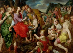 A painting displays Jesus' feeding of the 5,000. (Photo credit: Art Images via Getty Images)