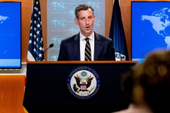 State Department spokesman Ned Price speaks on the situation in Afghanistan at the State Department in Washington, D.C. (Photo credit: ANDREW HARNIK/POOL/AFP via Getty Images)