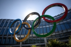 The Olympic Rings logo is pictured in front of the headquarters of the International Olympic Committee (IOC) in Lausanne. (Photo credit: FABRICE COFFRINI/AFP via Getty Images)