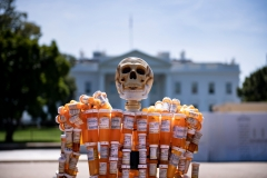 Pill Man, a skeleton made from Frank Huntley's oxycontin and methadone prescription bottles, is seen on Pennsylvania Avenue in front of the White House. (Photo credit: BRENDAN SMIALOWSKI/AFP via Getty Images)