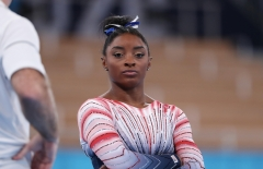 Simone Biles of Team United States reacts before the Women's Balance Beam Final. (Photo credit: Xavier Laine/Getty Images)