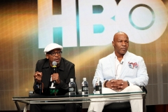 """Executive producer Spike Lee (L) and Mike Tyson speak onstage at the """"Mike Tyson: Undisputed Truth"""" panel discussion during the HBO portion of the 2013 Summer Television Critics Association tour. (Photo credit: FilmMagic/FilmMagic)"""
