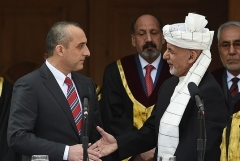 Vice President Amrullah Saleh, left, with Afghan President Ashraf Ghani at the inauguration in March 2020. (Photo by Wakil Kohsar/AFP via Getty Images)