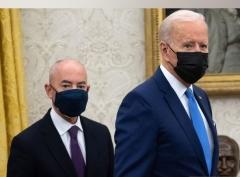 Secretary of Homeland Security Alejandro Mayorkas and President Joe Biden. (Photo by Saul Loeb/AFP via Getty Images)