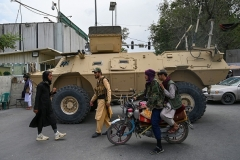 Taliban fighters have set up roadblocks in Kabul, preventing Afghan allies of the U.S. from reaching the airport, press reports said on August 17, 2021. (Photo by WAKIL KOHSAR/AFP via Getty Images)
