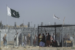 A border crossing between Pakistan and Taliban-ruled Afghanistan, at Chaman, on the road linking Kandahar and Quetta.  (Photo by -/AFP via Getty Images)