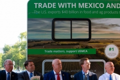 Representatives Kevin Brady (R), Dustin Johnson (2nd R), Scott DesJarlais (C), Jodey Arrington (2nd L) and Jim Hadgehorn (L) take part in a rally for the passage of the US-Mexico-Canada Agreement (USMCA) near the US Capitol in Washington, DC, on September 12, 2019. (Photo by ALASTAIR PIKE/AFP via Getty Images)
