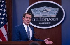 Pentagon Spokesman John Kirby speaks during a press briefing on the situation in Afghanistan at the Pentagon in Washington, DC on August 16, 2021. (Photo by ANDREW CABALLERO-REYNOLDS/AFP via Getty Images)