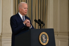 President Joe Biden delivers remarks on the August jobs report in the State Dining Room at the White House in Washington, DC on September 3, 2021. - The United States gained only 235,000 jobs last month, according to government data released, a total far below expectations that may indicate the Delta variant is harming the US economic recovery. (Photo by JIM WATSON/AFP via Getty Images)