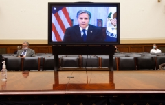 Secretary of State Antony Blinken appears on a television screen as he testifies virtually on the US withdrawal from Afghanistan during a House Foreign Affairs Committee hearing on Capitol Hill in Washington, DC, September 13, 2021. - US Secretary of State Antony Blinken on Monday was to insist that the Biden administration had prepared for worst-case scenarios in Afghanistan as he faced irate lawmakers. (Photo by SAUL LOEB/AFP via Getty Images)