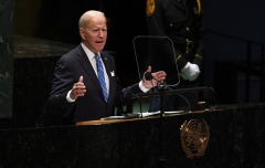 President Joe Biden addresses the 76th Session of the UN General Assembly on September 21, 2021 in New York. (Photo by TIMOTHY A. CLARY/POOL/AFP via Getty Images)