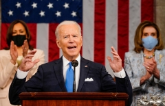 Joe Biden delivers a State of the Union address. (Photo credit: MELINA MARA/POOL/AFP via Getty Images)