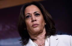 Conservatives have criticized Kamala Harris for her dismissal of the border crisis. (Photo credit: OLIVIER DOULIERY/AFP via Getty Images)