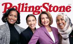 """Rolling Stone features Reps. Jahana Hayes (D-CT) Alexandria Ocasio-Cortez (D-NY), Nancy Pelosi (D-CA), and Ilhan Omar (D-MN) on the cover of its March 2019 """"Women Shaping the Future"""" issue. (Photo credit:"""