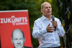 The latest polls place Olaf Scholz of the center-left SPD in leading position to be Germany's next chancellor. (Photo by Jens Schlueter/ Pool /AFP via Getty Images)