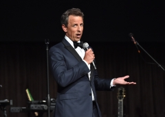 Seth Meyers speaks onstage during Rihanna's 4th Annual Diamond Ball. (Photo credit: Getty Images for Diamond Ball)