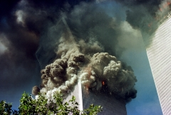 The south tower of the World Trade Center collapses Sept. 11, 2001 in New York City. (Photo credit: Thomas Nilsson/Getty Images)