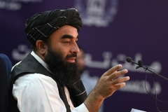 Taliban spokesman Zabihullah Mujahid tells a press conference in Kabul on Monday that the group has captured the Panjshir valley. (Photo by Wakil Kohsar/AFP via Getty Images)