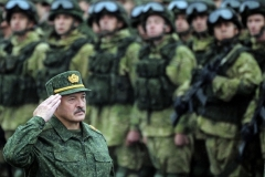 Belarusian President Alexander Lukashenko during a previous version of the joint Russian-Belarusian military exercises known as Zapad. (Photo by Sergei Gapon/AFP via Getty Images)