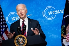 President Joe Biden speaks at the White House during a climate change virtual summit on April 22, 2021. (Photo by BRENDAN SMIALOWSKI/AFP via Getty Images)