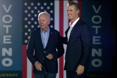California Governor Gavin Newsom greets President Joe Biden during a campaign event at Long Beach City Collage in Long Beach, California on September 13, 2021. (Photo by BRENDAN SMIALOWSKI/AFP via Getty Images)