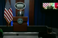 Pentagon Press Secretary John Kirby, at the podium, and U.S. Central Command Commander Marine Gen. Kenneth McKenzie, joining remotely, brief reporters on Friday, Sept. 17, 2021. (Photo: Screen capture)
