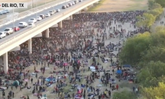 Some 10,503 illegal immigrants wait for CBP under a bridge in Del Rio, Texas on September 16, 2021. (Photo: Screen capture/Fox News)