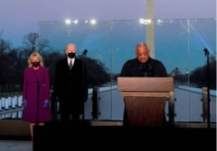 President-elect Joe Biden and Jill Biden with Cardinal Wilton Gregory at the Lincoln Memorial on Jan. 19, 2021 at memorial to honor the lives of those lost to COVID-19. (Photo by Patrick T. Fallon/AFP via Getty Images)