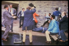 Moments after John Hinckley, Jr. attempted to assassinate President Ronald Reagan outside a Washington hotel in 1981. (Photo by Dirck Halstead/Getty Images)